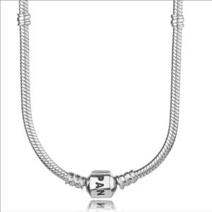 17.7 Pandora Sterling Silver Snake Chain Necklace